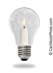 el cocer al vapor, luz, dentro, lit, bombilla, vela