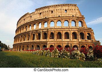 el coliseo, en, roma, italia