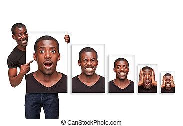el, collage, de, diferente, emociones, de, un, atractivo, hombre afroamericano