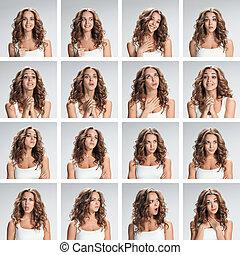 el, collage, de, diferente, mujer, emociones, en, fondo gris