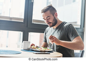 el comer sano, breakfast., hombre