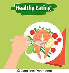 el comer sano, ilustración, con, pez