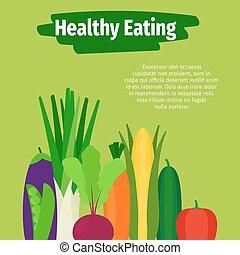 el comer sano, ilustración, con, vegetales