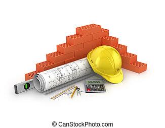 el, concepto, de, ahorro, en, edificio, materials.3d, ilustración