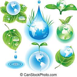 el, concepto, de, ecología, símbolos