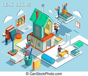 el, concepto, de, lectura, libros, y, aprendizaje, en, el, library.isometric, plano, design., vector, ilustración