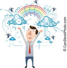 el, concepto, de, nube, tecnología