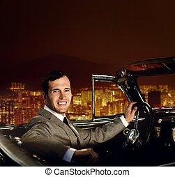 el conducir del hombre, retro, coche, contra