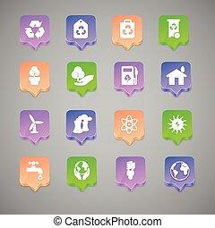 el, conjunto, de, ambiental, iconos