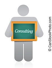 el consultar, mensaje, ilustración, diseño