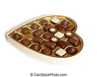 el corazón formó la caja, de, chocolates
