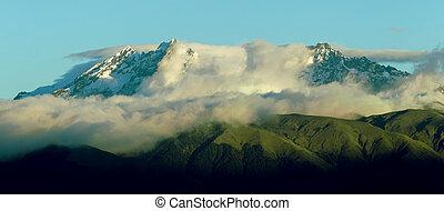 el, coucher soleil, autel, volcan