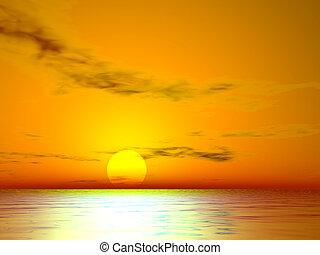 el, coucher soleil, doré