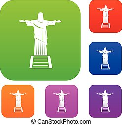 el, cristo redentor, estatua, conjunto, color, colección