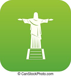 el, cristo redentor, estatua, icono, digital, verde