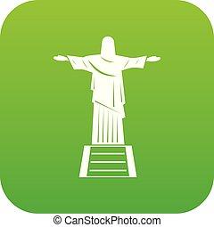 el, cristo redentor, estatua, icono, digital, verde
