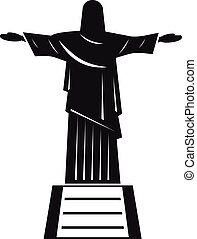 el, cristo redentor, estatua, icono, simple, estilo