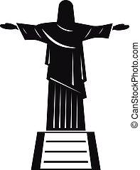 el, cristo redentor, estatua, icono, simple, estilo