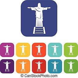 el, cristo redentor, estatua, iconos, conjunto, plano