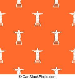 el, cristo redentor, estatua, patrón, seamless