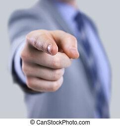 el, cuerpo, de, un, hombre de negocios, en, un, traje, señalar, con, el suyo, dedo