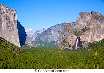 el, dôme, californie, capitan, moitié, yosemite