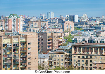 el, denso, residencial, desarrollo, en la ciudad, center., moscú