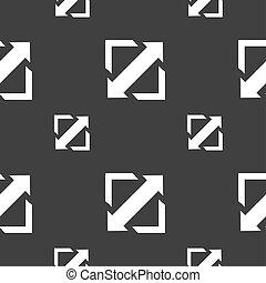el desplegar, vídeo, pantalla, tamaño, icono, signo., seamless, patrón, en, un, gris, fondo.