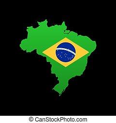 el, detallado, mapa, de, el, brasil, con, bandera