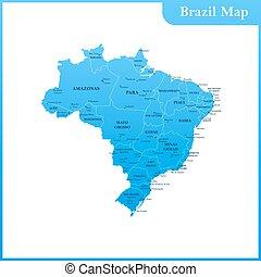 el, detallado, mapa, de, el, brasil