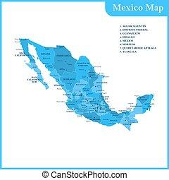 el, detallado, mapa, de, el, méxico