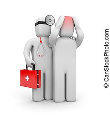 el doctor, y, el, paciente, con, dolores de cabeza