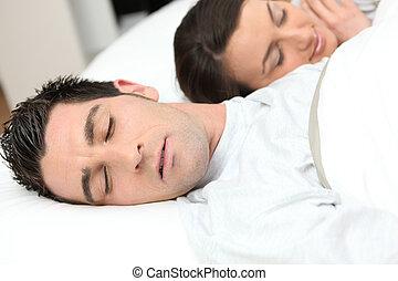 el dormir del hombre, deeply, al lado de, el suyo, novia