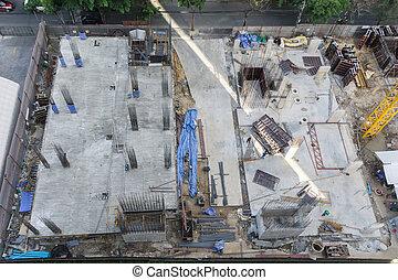 el, edificio, constuction, sitio, en, bangkok.