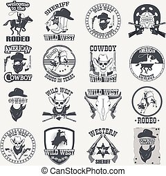 el, ensemble, cow-boy, ouest, conçu, sauvage