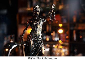 el, estatua, de, justicia, símbolo, legal, ley, concepto