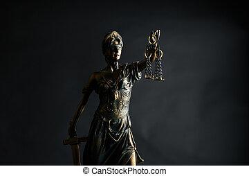 el, estatua, de, justicia, símbolo, legal, ley, concepto, imagen