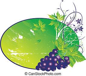 el, estilizado, uvas