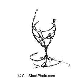 el, estilizado, vidrio vino, para, defecto