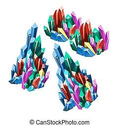 el, etapa, de, formación, de, multicolor, cristalino, minerales, aislado, blanco, fondo., vector, caricatura, primer plano, illustration.