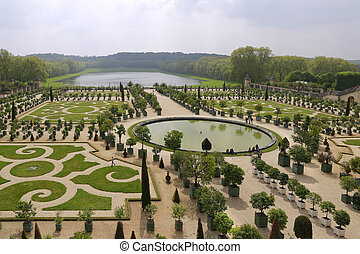 el, famoso, jardines, de, el, palacio real, de, versailles,...