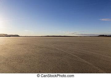 el fata morgana, see bett, in, der, mohave wüste