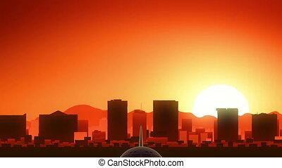el, fermé, usa, paso, horizon, texas, amérique, levers de soleil, prendre