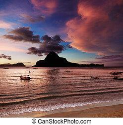 el, filipinas, nido, pôr do sol, baía