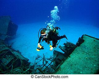el fotografiar, naufragio, hundido, buzo