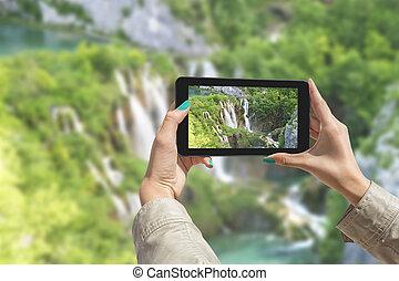 el fotografiar, plitvice, lagos, con, tableta
