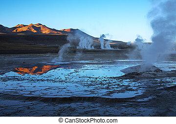 el, geyser, tatio, regione, campo, cile, atacama