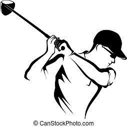 el, golfjátékos, closeup, teeing