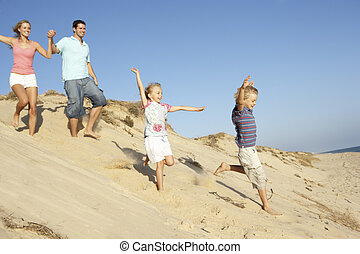 el gozar, familia , duna, abajo, corriente, feriado, playa