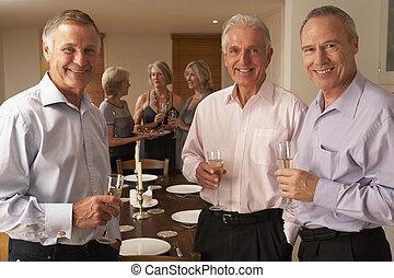 el gozar, vidrio, cena, champaña, amigos